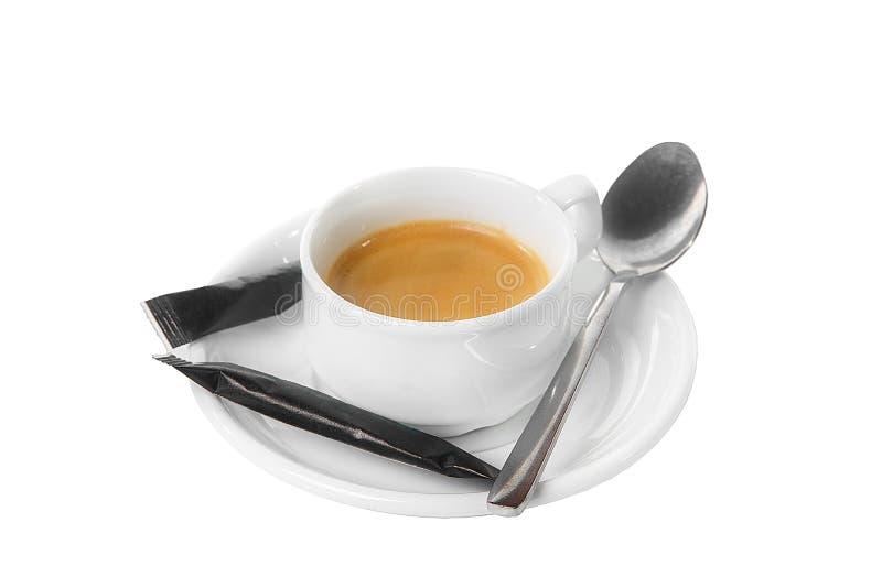 咖啡与糖被隔绝的白色的 库存图片