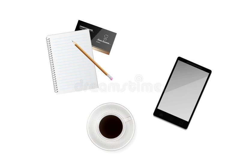 咖啡与纸、铅笔和电话的 库存例证
