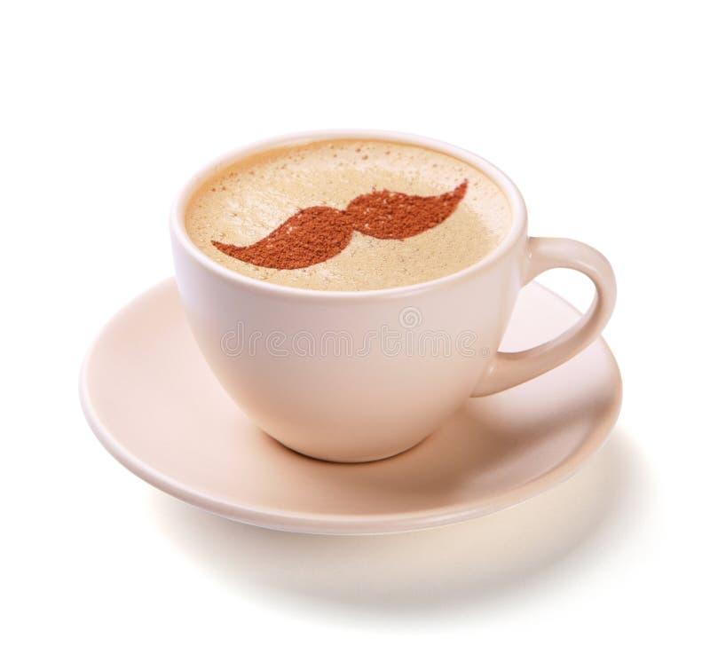 咖啡与髭的在被隔绝的泡沫 库存照片