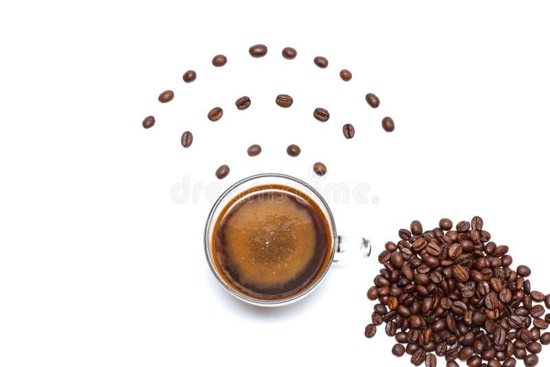 咖啡与wifi标记的  互联网Café 库存图片