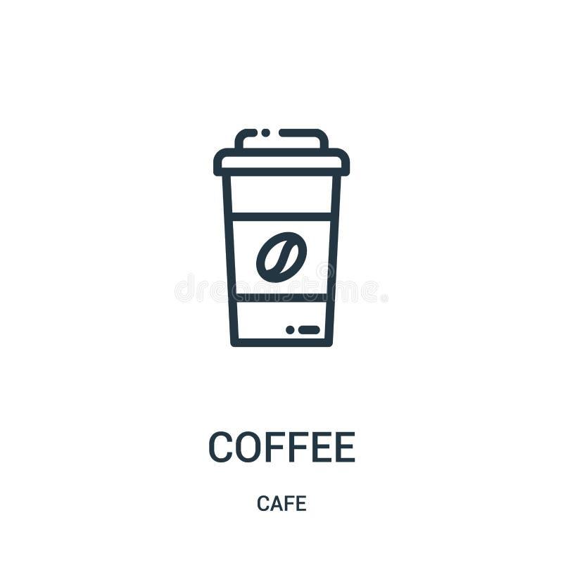 咖啡从咖啡馆汇集的象传染媒介 稀薄的线咖啡概述象传染媒介例证 r 库存例证