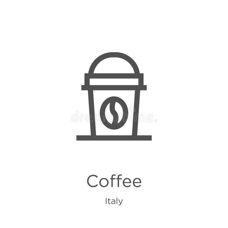 咖啡从意大利汇集的象传染媒介 稀薄的线咖啡概述象传染媒介例证 概述,稀薄的线咖啡象为 皇族释放例证