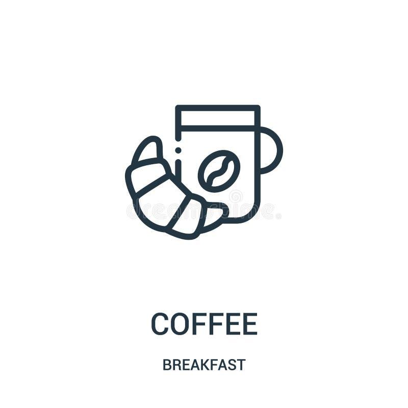 咖啡从早餐汇集的象传染媒介 稀薄的线咖啡概述象传染媒介例证 皇族释放例证