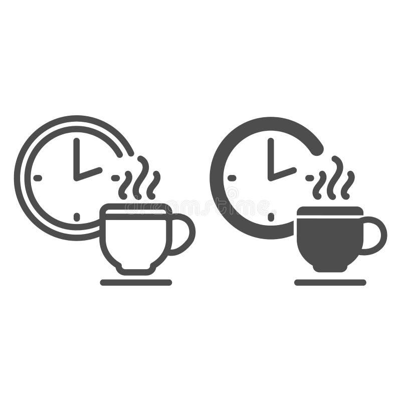 咖啡休息线和纵的沟纹象 时钟和杯子在白色隔绝的传染媒介例证 断裂概述样式的时刻 皇族释放例证