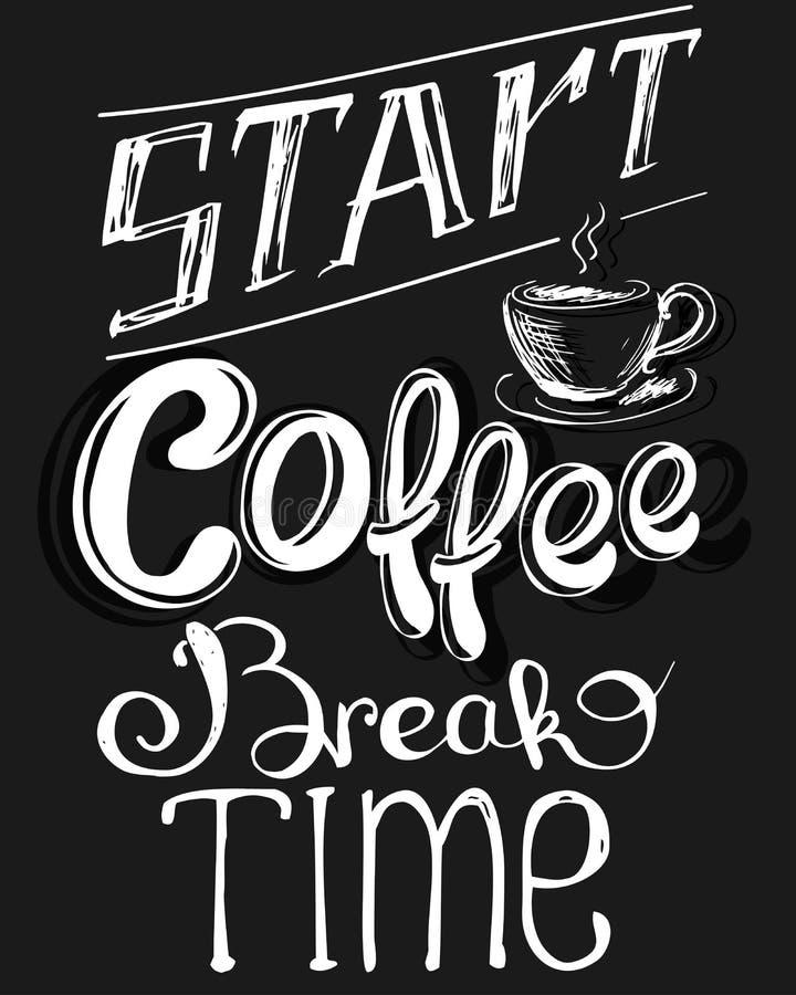 `咖啡休息`葡萄酒风格化字法 库存例证