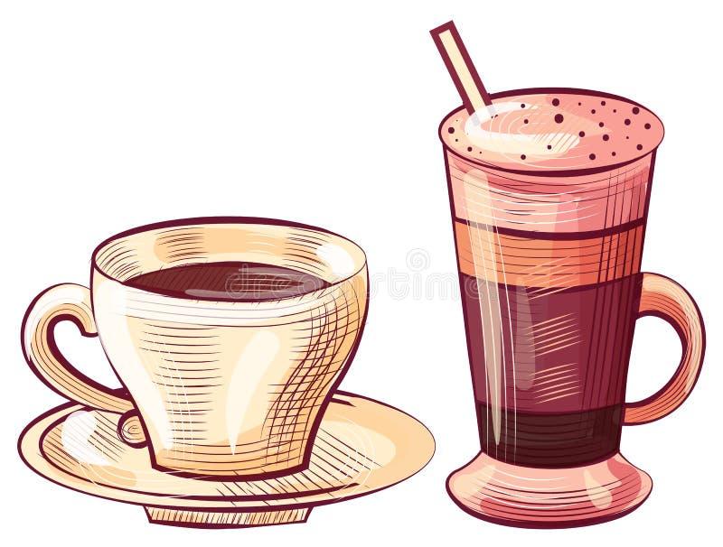 咖啡倾吐了玻璃和杯,拿铁饮料 向量例证