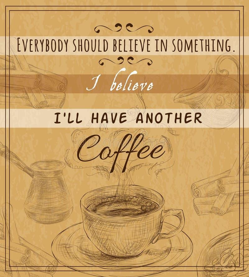 咖啡具减速火箭的海报 向量例证