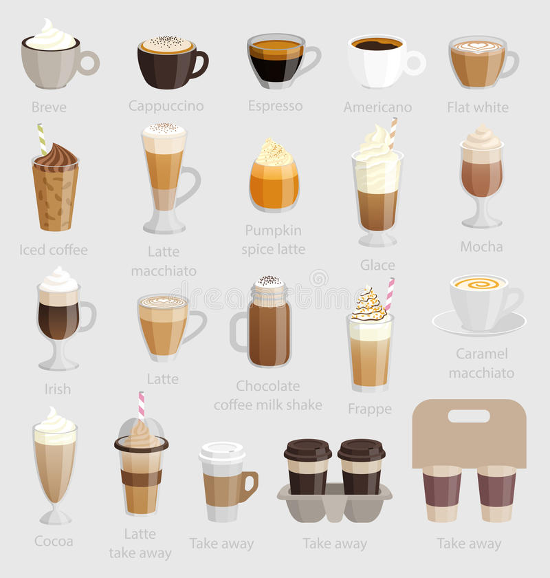 咖啡具:热奶咖啡、拿铁, macchiato和其他 库存例证