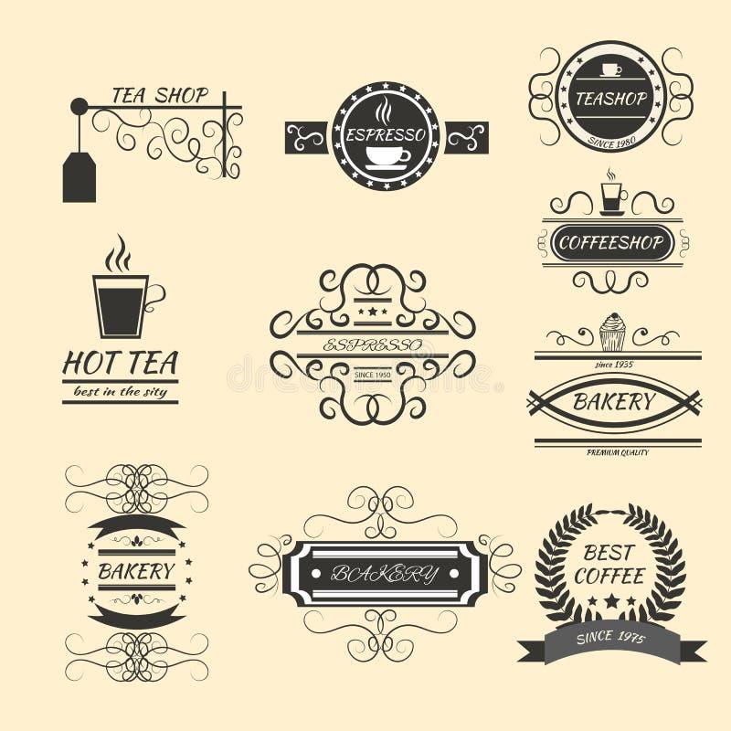 咖啡减速火箭的葡萄酒标签商标设计印刷术老st 向量例证