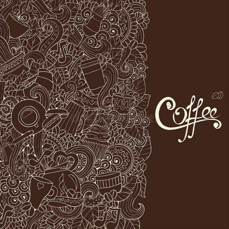 咖啡剪影笔记本乱画 向量例证