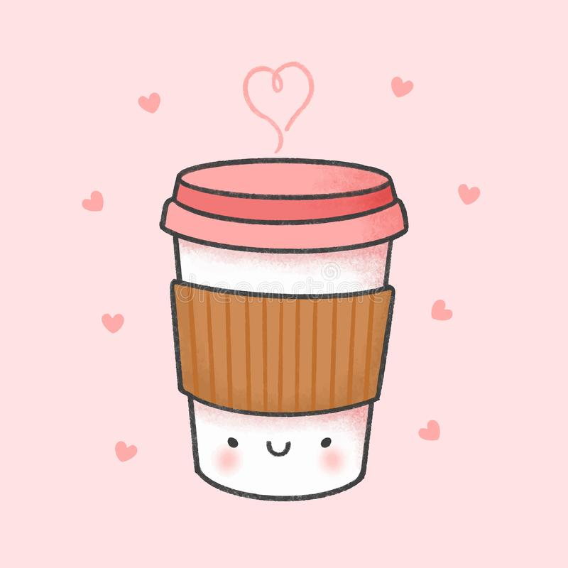 咖啡动画片手拉的样式 库存例证