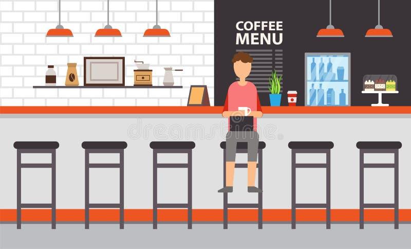 咖啡厅或酒吧内部、柜台和凳子 向量例证