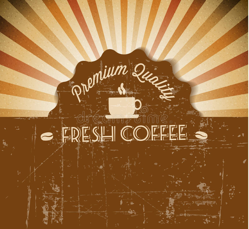 咖啡向量grunge减速火箭的葡萄酒标签 库存例证