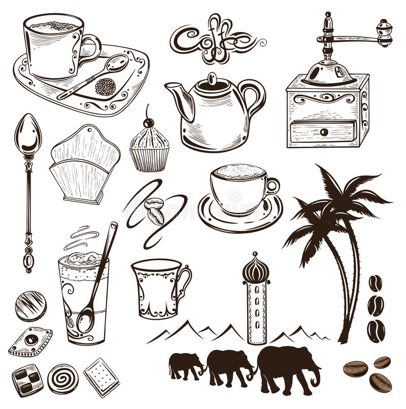 咖啡和可可粉 皇族释放例证