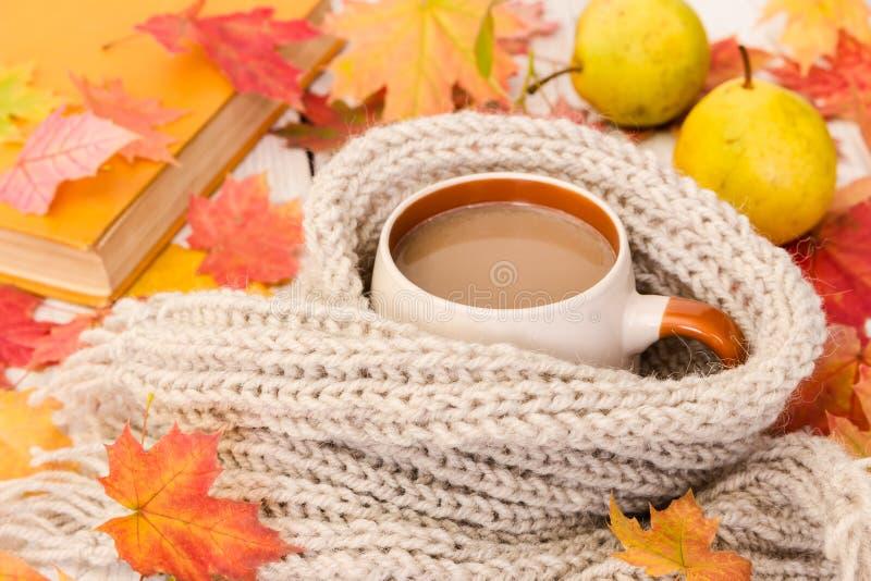 咖啡和温暖的围巾在木背景与槭树地方教育局 免版税库存图片