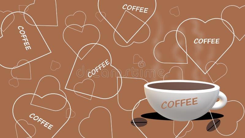 咖啡和爱:咖啡杯,与白色概述,棕色背景的心脏,'咖啡'副标题 库存例证