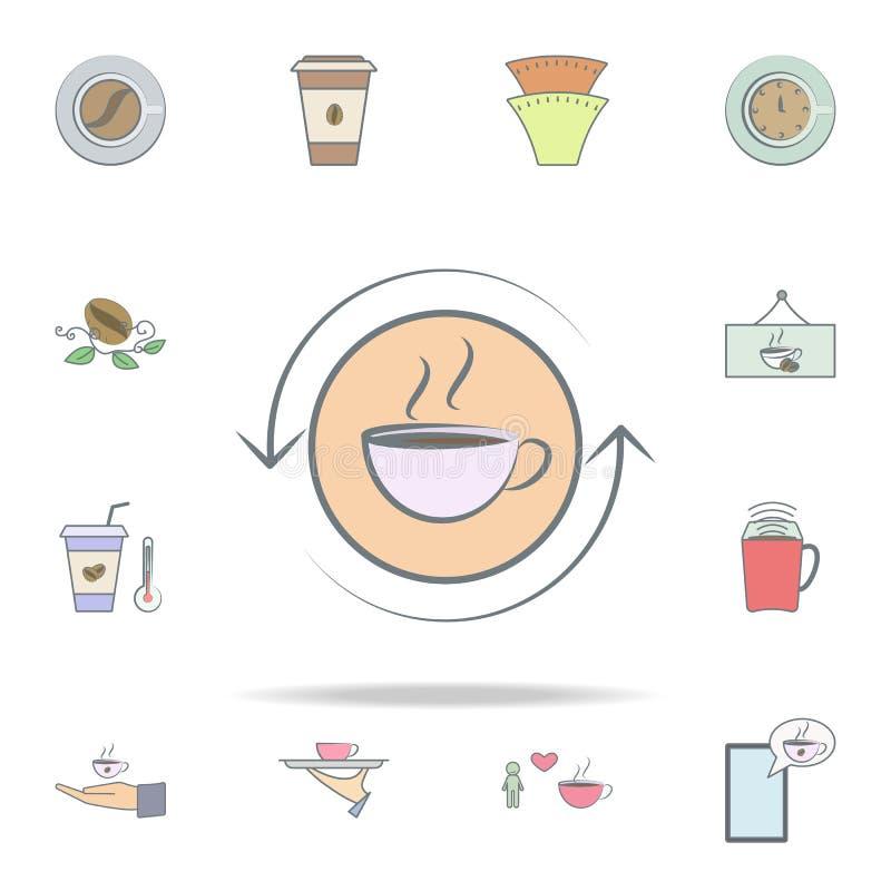 咖啡和箭头象 网和机动性的咖啡象全集 向量例证