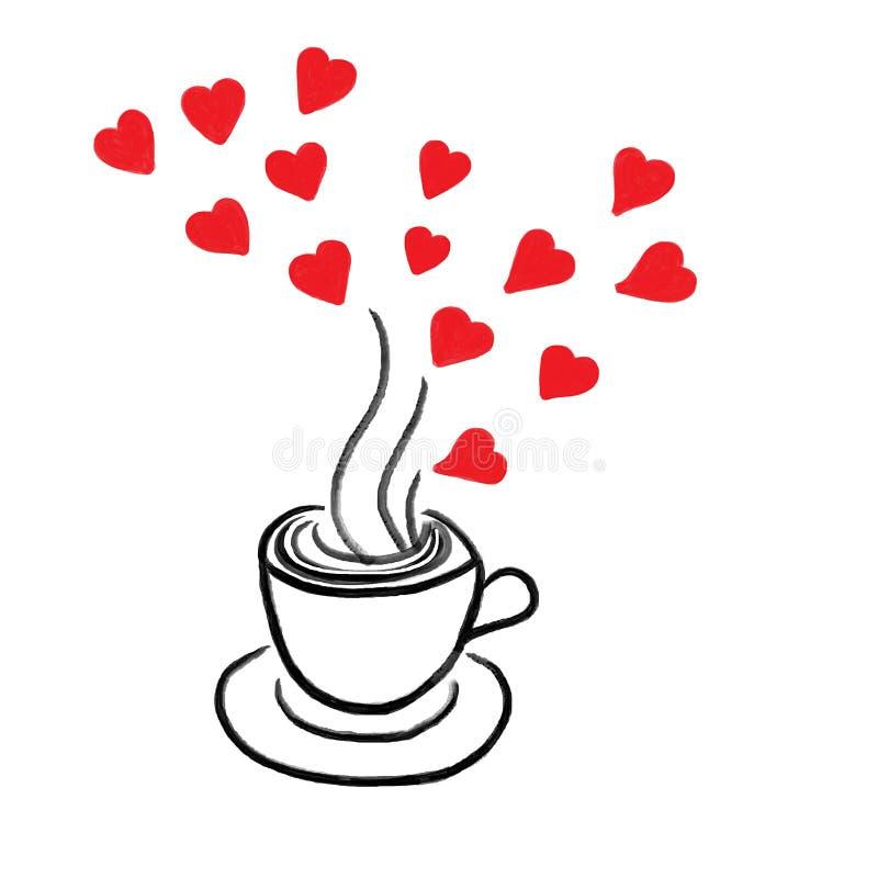 咖啡和红色心脏 库存例证