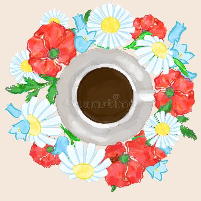 咖啡和花 库存例证