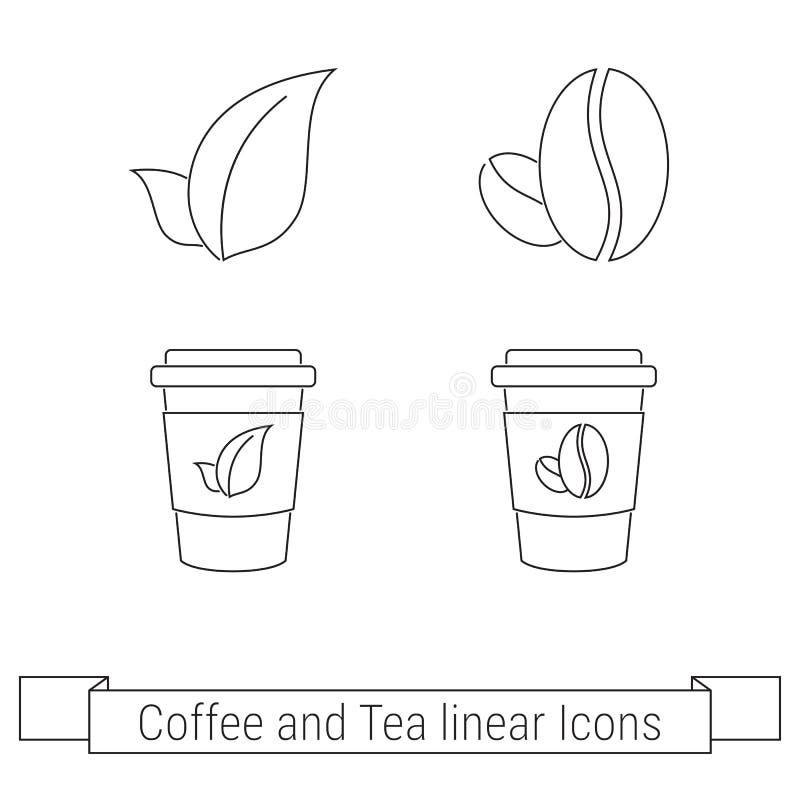咖啡和茶划线员象 库存例证