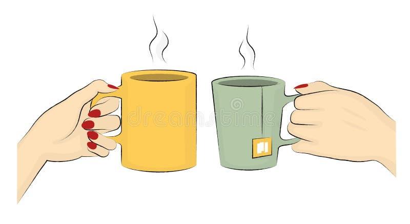 咖啡和茶杯子的传染媒介例证 向量例证