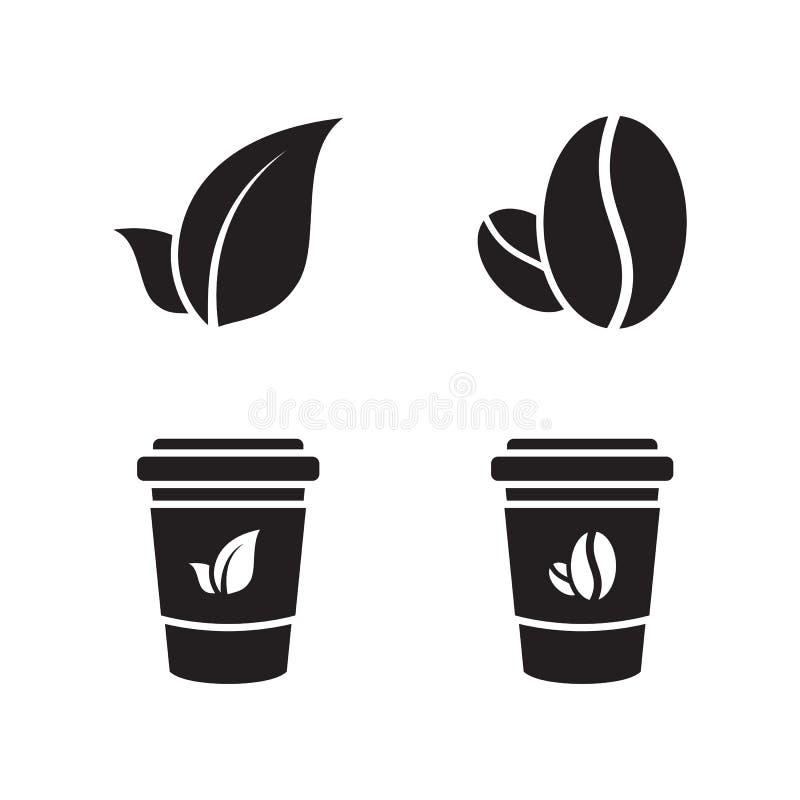 咖啡和茶象 向量例证