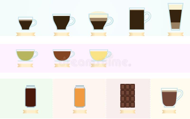 咖啡和茶infographics 库存例证