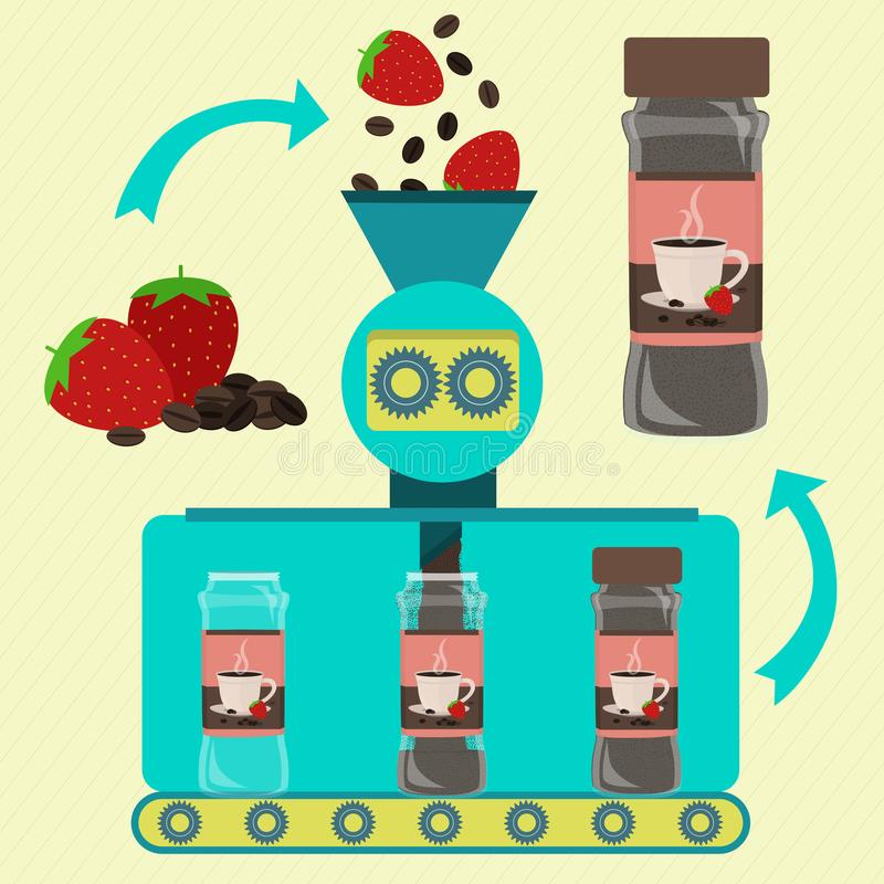 咖啡和草莓粉末生产 库存例证