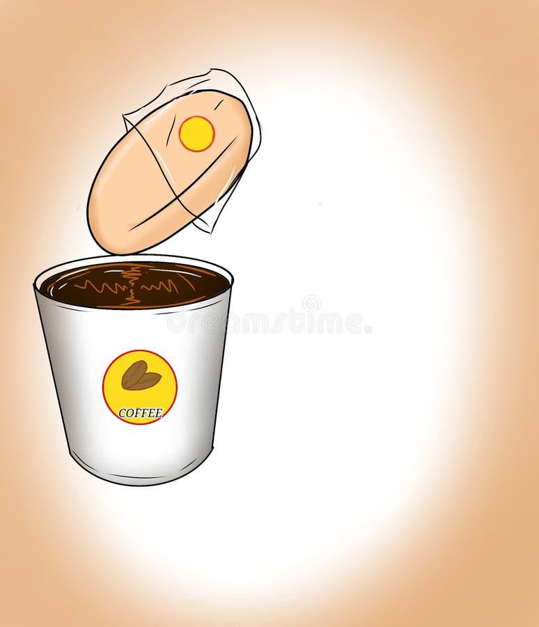 咖啡和面包 皇族释放例证
