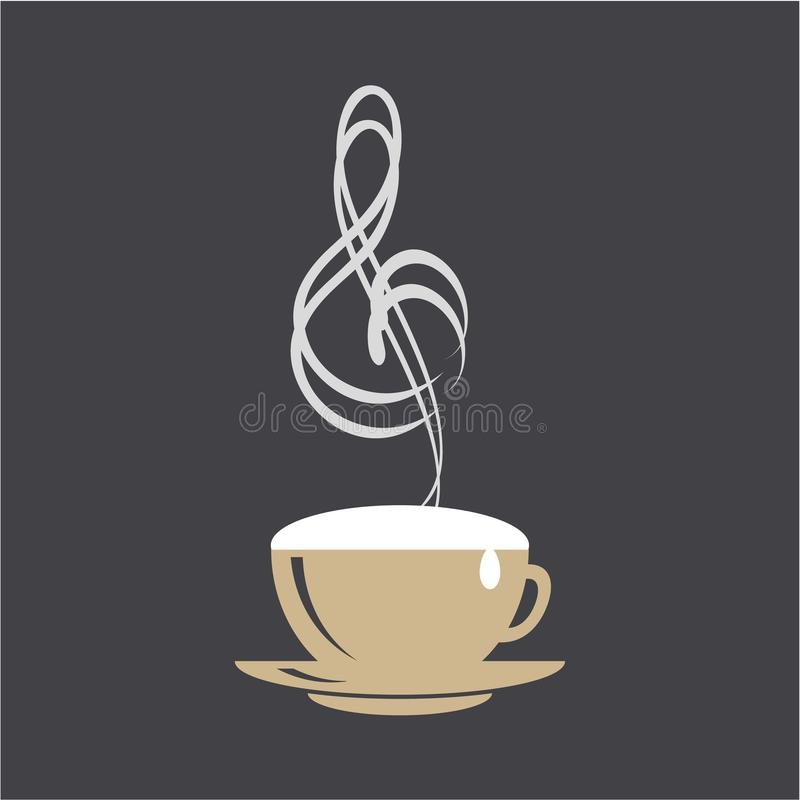 咖啡和音乐商标概念 热奶咖啡杯子和高音谱号在黑背景 皇族释放例证