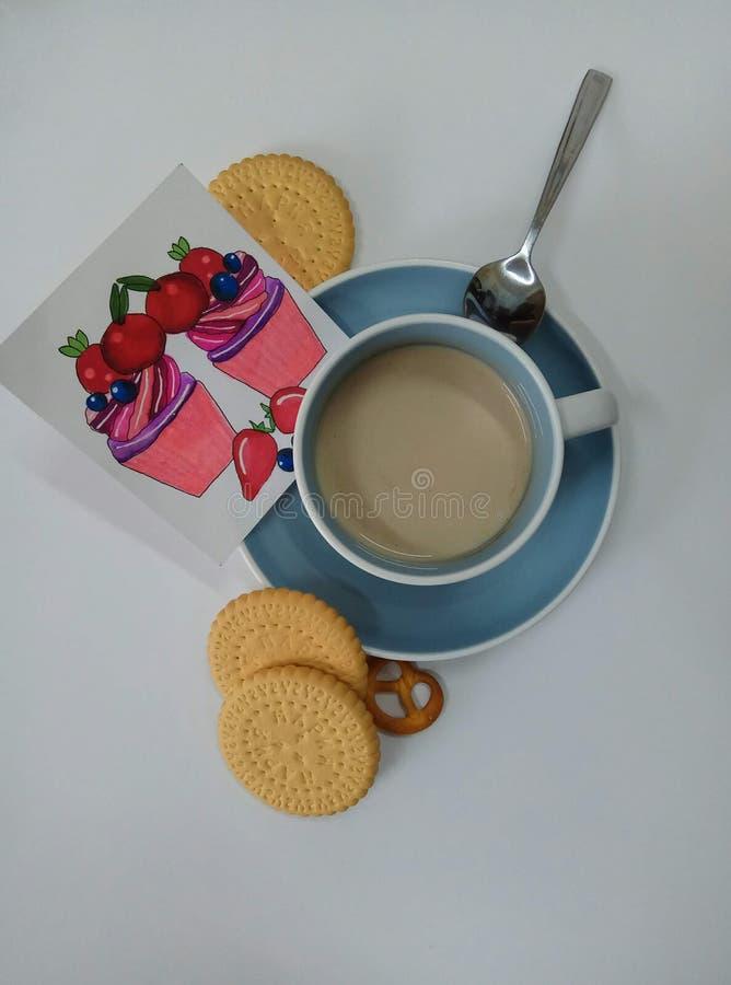 咖啡和饼干 库存照片
