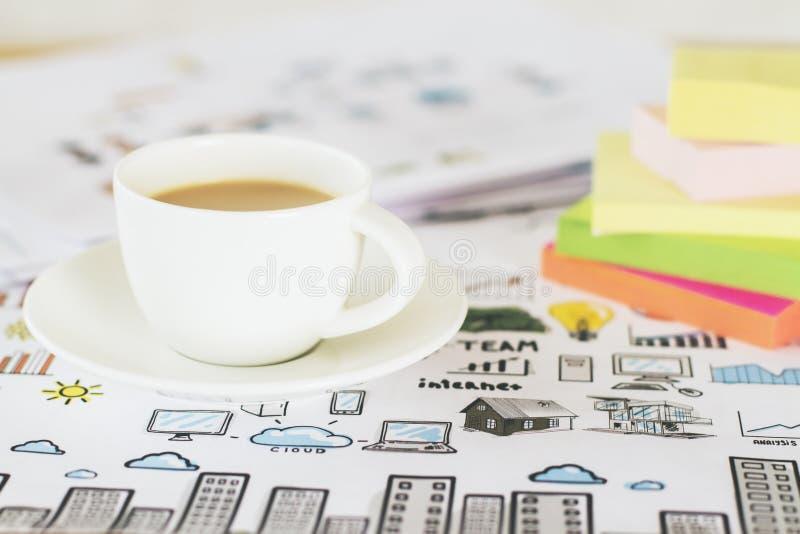 咖啡和贴纸特写镜头 免版税库存图片