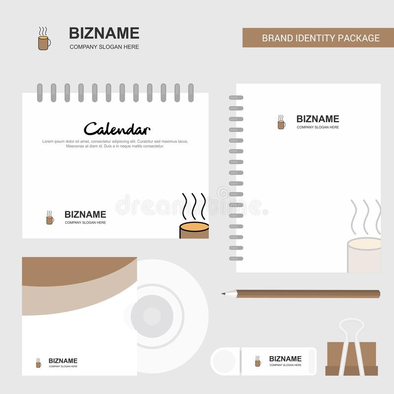 咖啡商标、日历模板、CD的盖子、日志和USB品牌固定式成套设计传染媒介模板 皇族释放例证