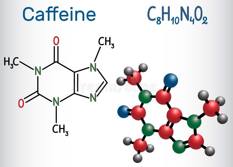 咖啡因分子 结构化学式和分子方式 向量例证
