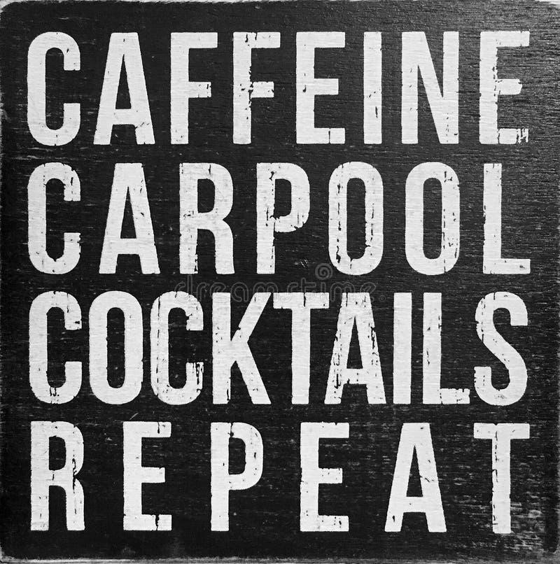 咖啡因合伙使用汽车鸡尾酒重复 免版税库存照片