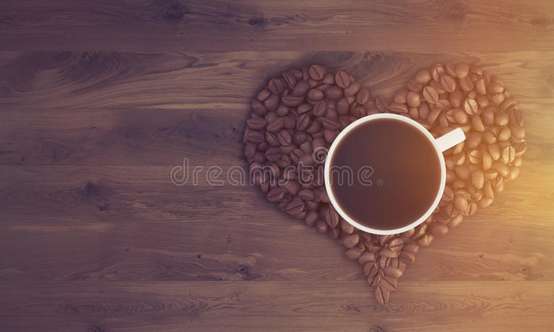 咖啡在咖啡心脏的,被定调子 皇族释放例证