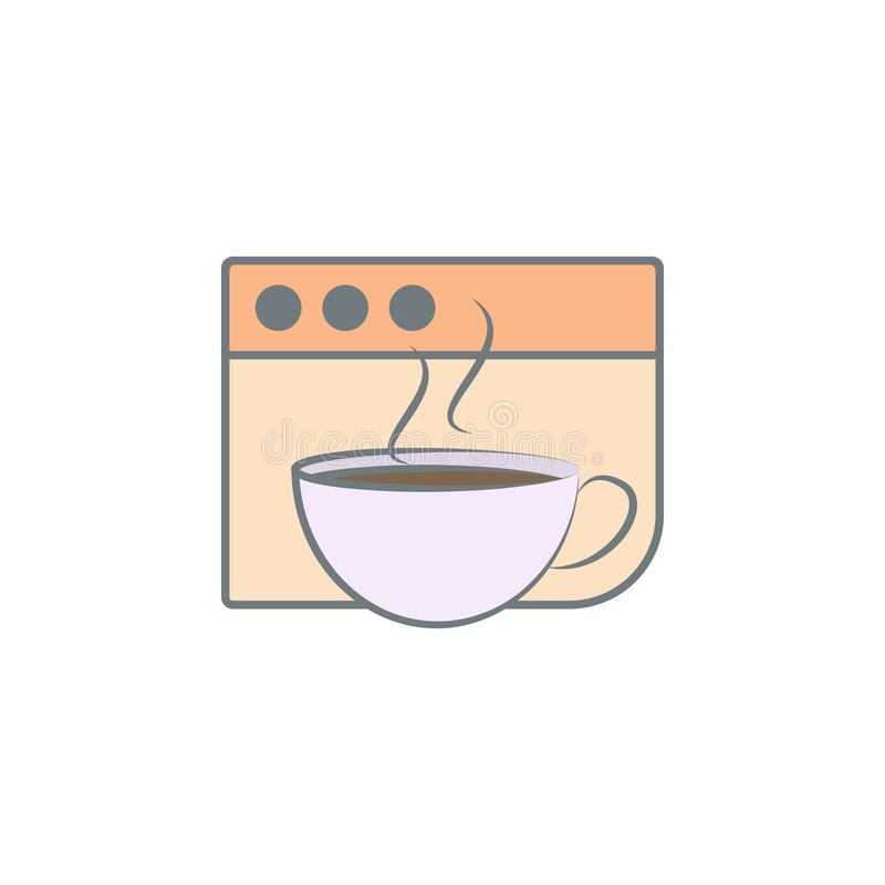 咖啡在浏览器色的象的 色的咖啡象的元素流动概念和网apps的 颜色咖啡在眉头的 皇族释放例证