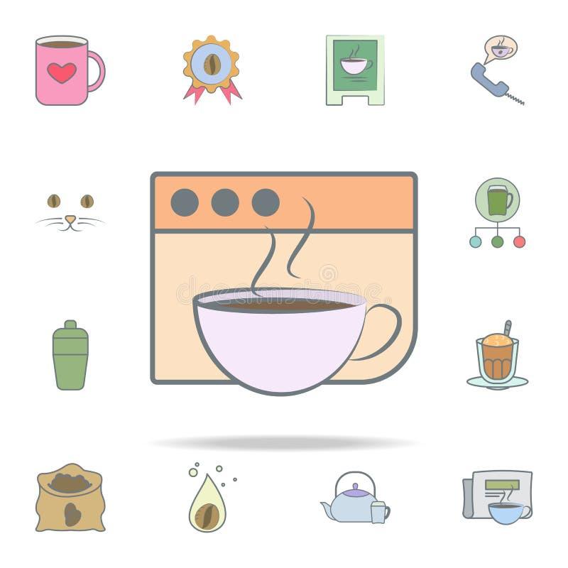 咖啡在浏览器象的 网和机动性的咖啡象全集 皇族释放例证
