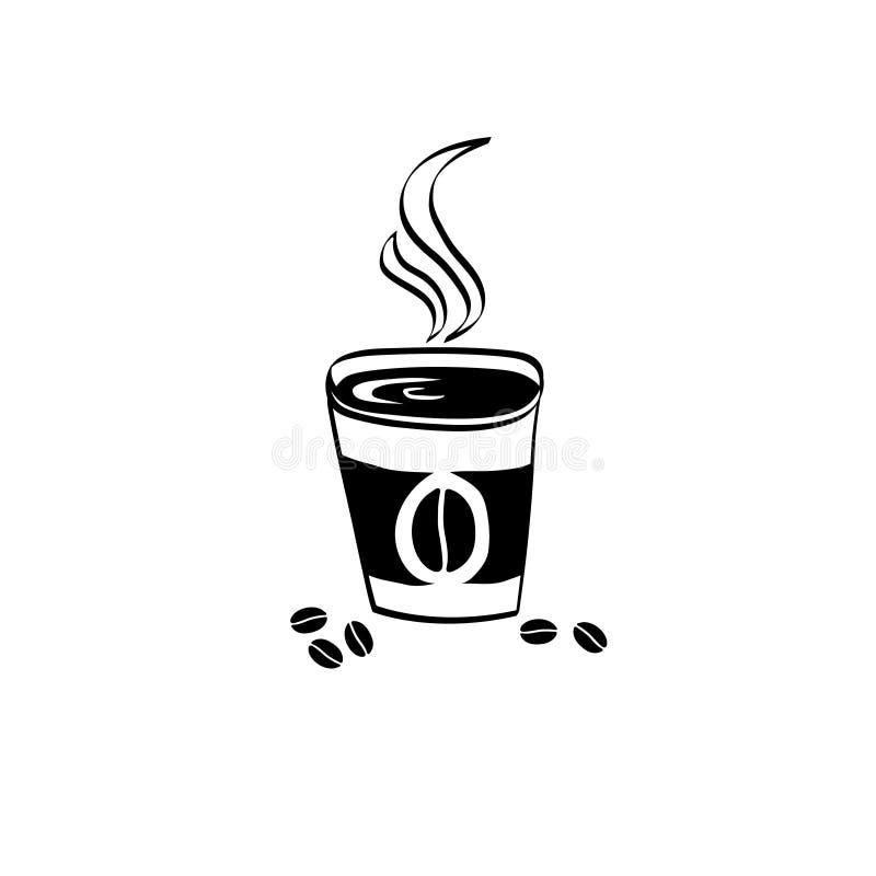 咖啡在白色背景的传染媒介象 按钮查出的现有量例证推进s启动妇女 艺术商标设计 图库摄影