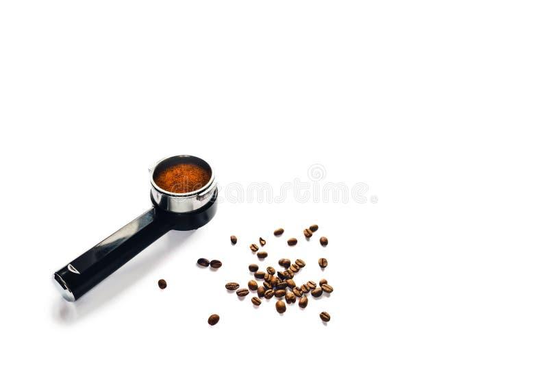 咖啡垫铁用碾碎的咖啡 库存图片