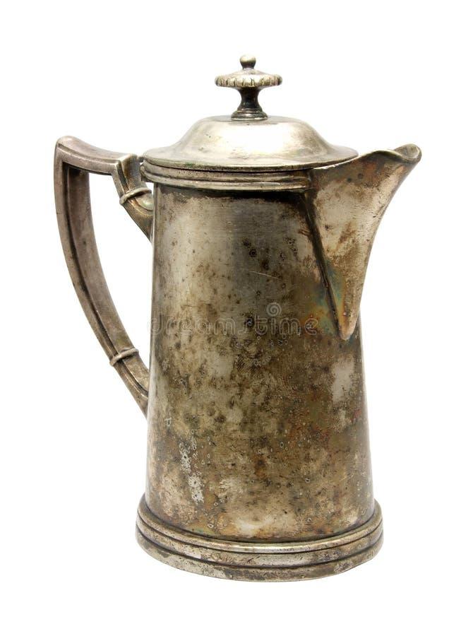 咖啡壶银色葡萄酒 免版税库存图片