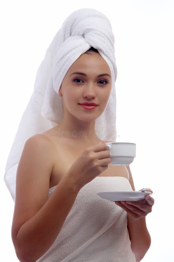 咖啡妇女 库存图片