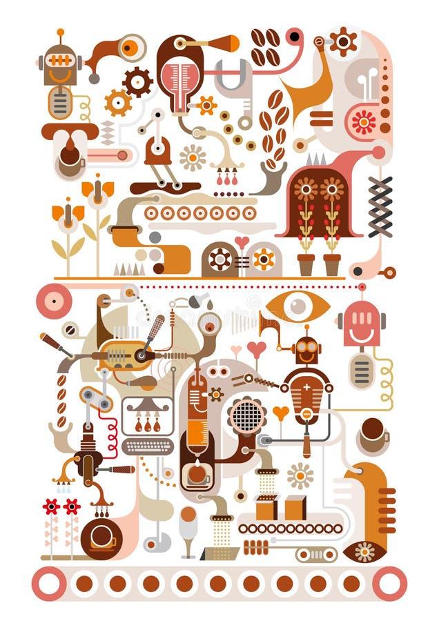 咖啡工厂-向量例证 库存例证