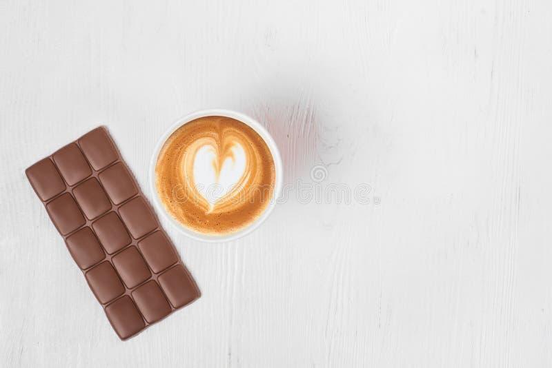 咖啡巧克力热奶咖啡片  免版税库存图片