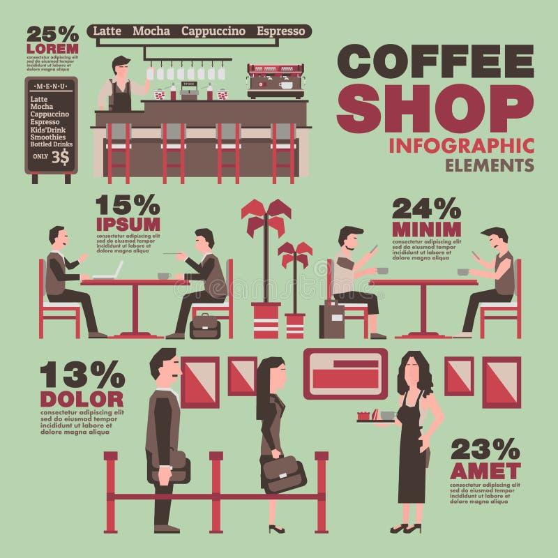 咖啡店信息图表元素,葡萄酒题材 库存例证