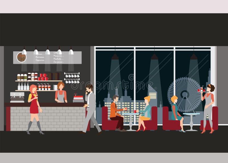 咖啡店信息图表  库存例证