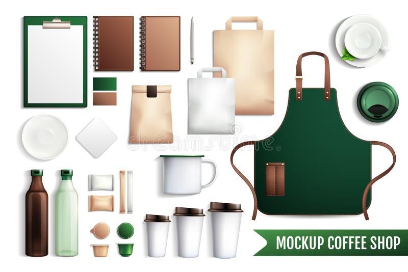 咖啡店元素大模型 向量例证