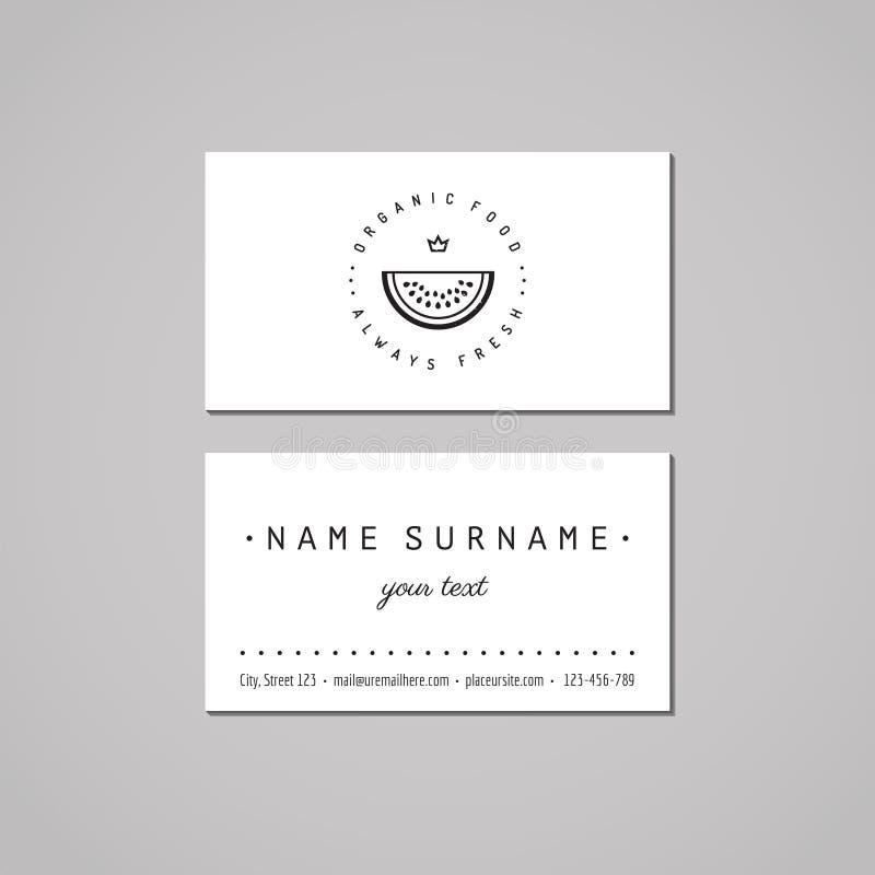 咖啡店名片设计观念 与杯子和冠的咖啡店商标 葡萄酒、行家和减速火箭的样式 皇族释放例证