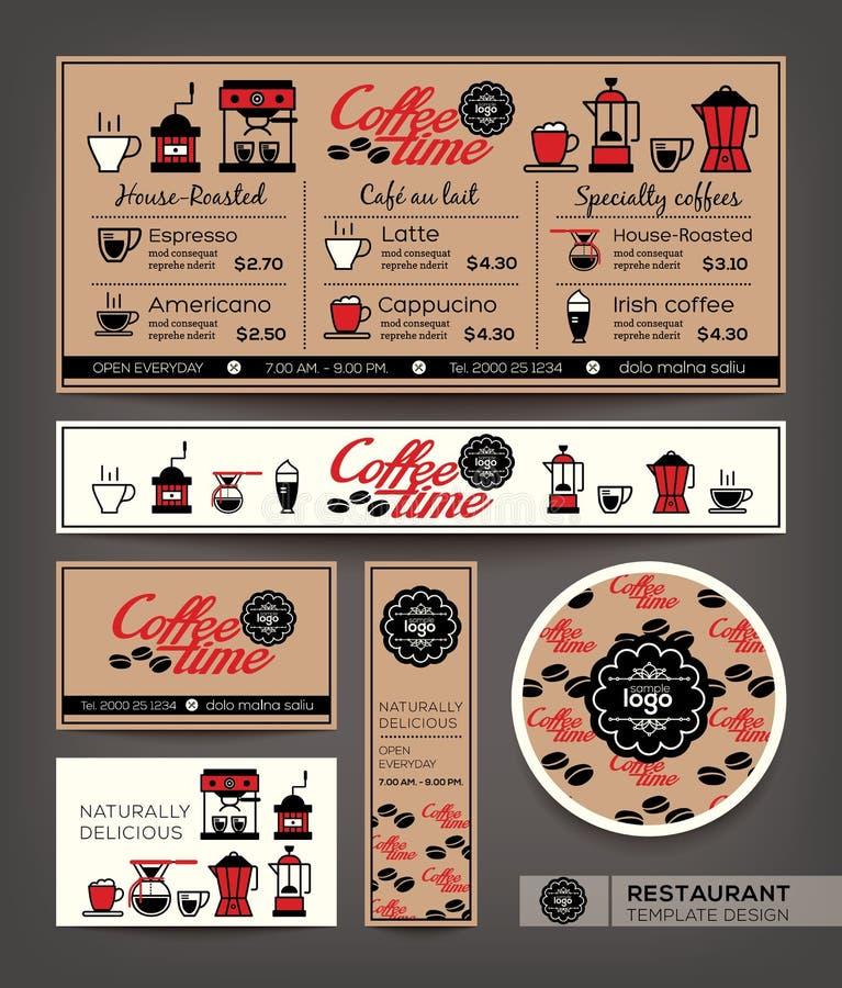 咖啡店咖啡馆集合菜单设计模板 向量例证