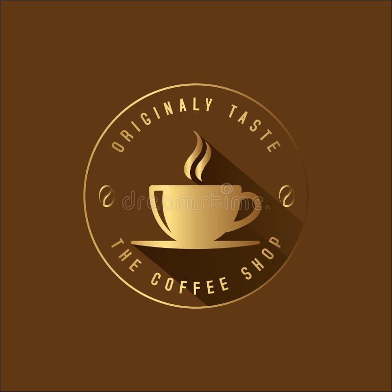 咖啡店商标金黄减速火箭的样式 库存例证